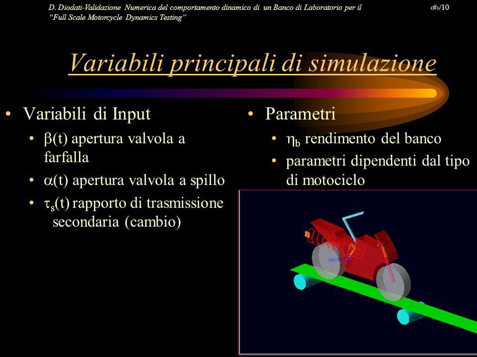 Variabili principali di simulazione