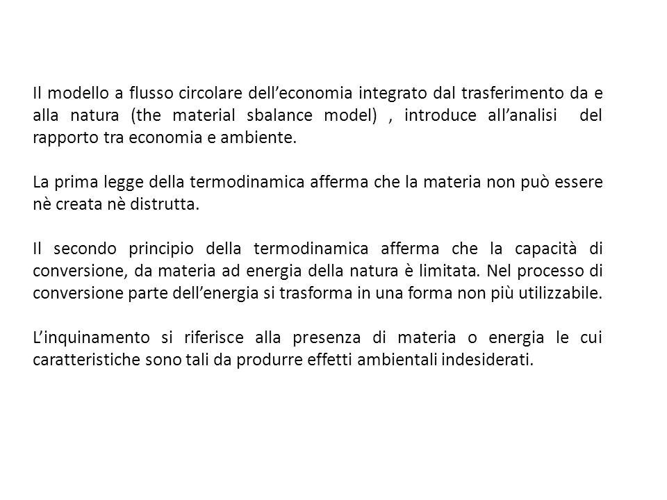 Il modello a flusso circolare dell'economia integrato dal trasferimento da e alla natura (the material sbalance model) , introduce all'analisi del rapporto tra economia e ambiente.