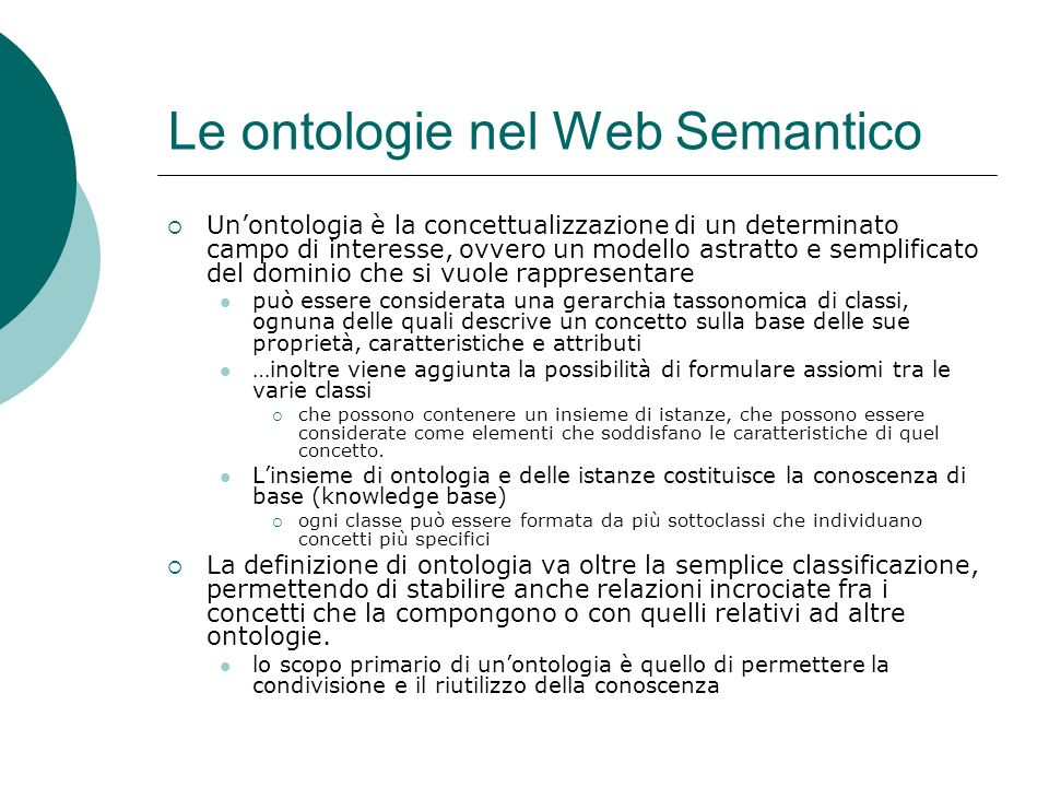 Le ontologie nel Web Semantico