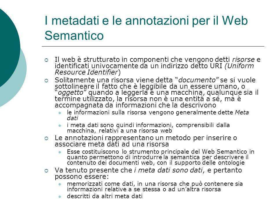 I metadati e le annotazioni per il Web Semantico