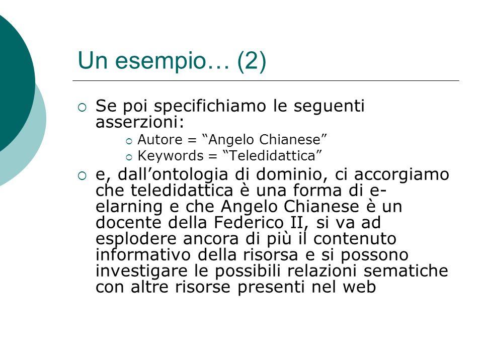 Un esempio… (2) Se poi specifichiamo le seguenti asserzioni: