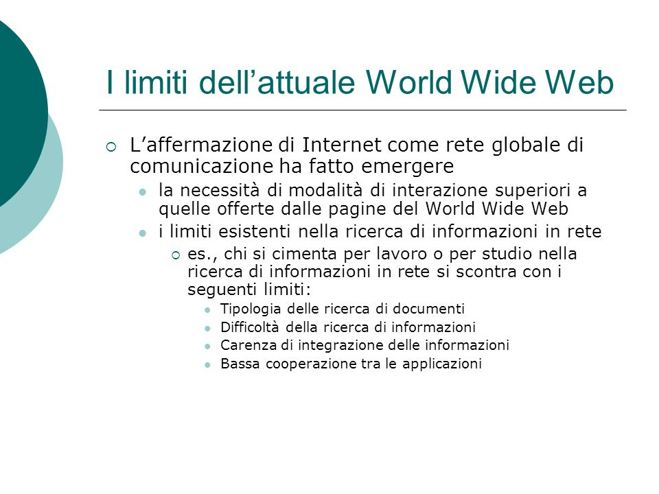 I limiti dell'attuale World Wide Web