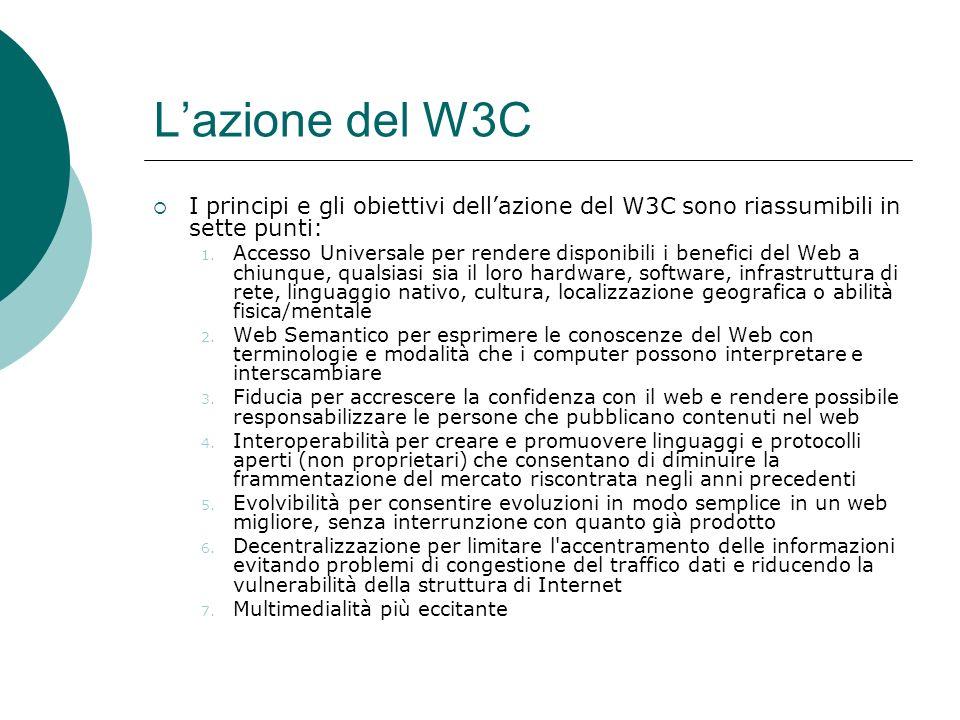 L'azione del W3C I principi e gli obiettivi dell'azione del W3C sono riassumibili in sette punti: