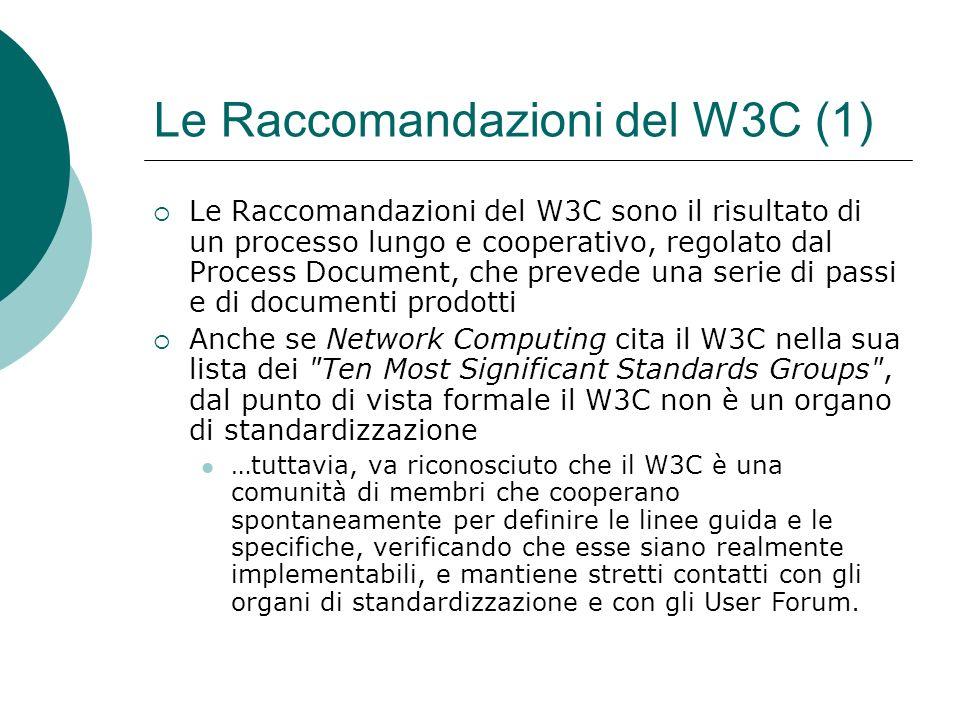 Le Raccomandazioni del W3C (1)