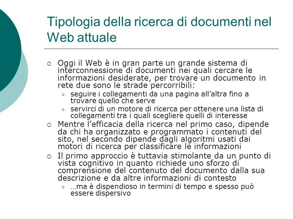 Tipologia della ricerca di documenti nel Web attuale
