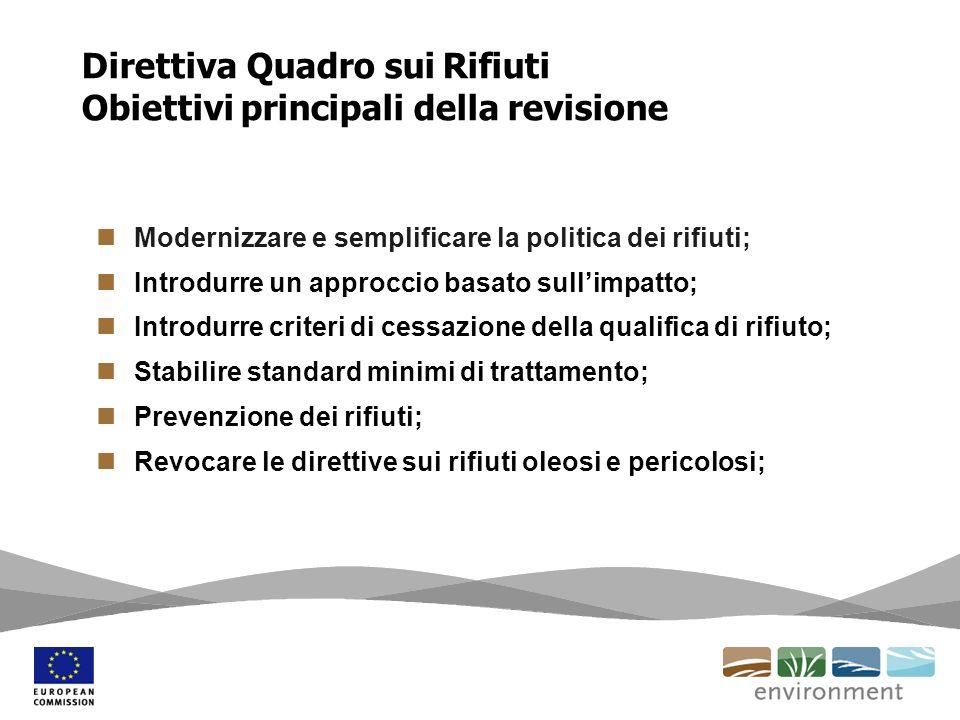 Direttiva Quadro sui Rifiuti Obiettivi principali della revisione
