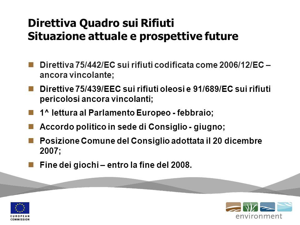 Direttiva Quadro sui Rifiuti Situazione attuale e prospettive future