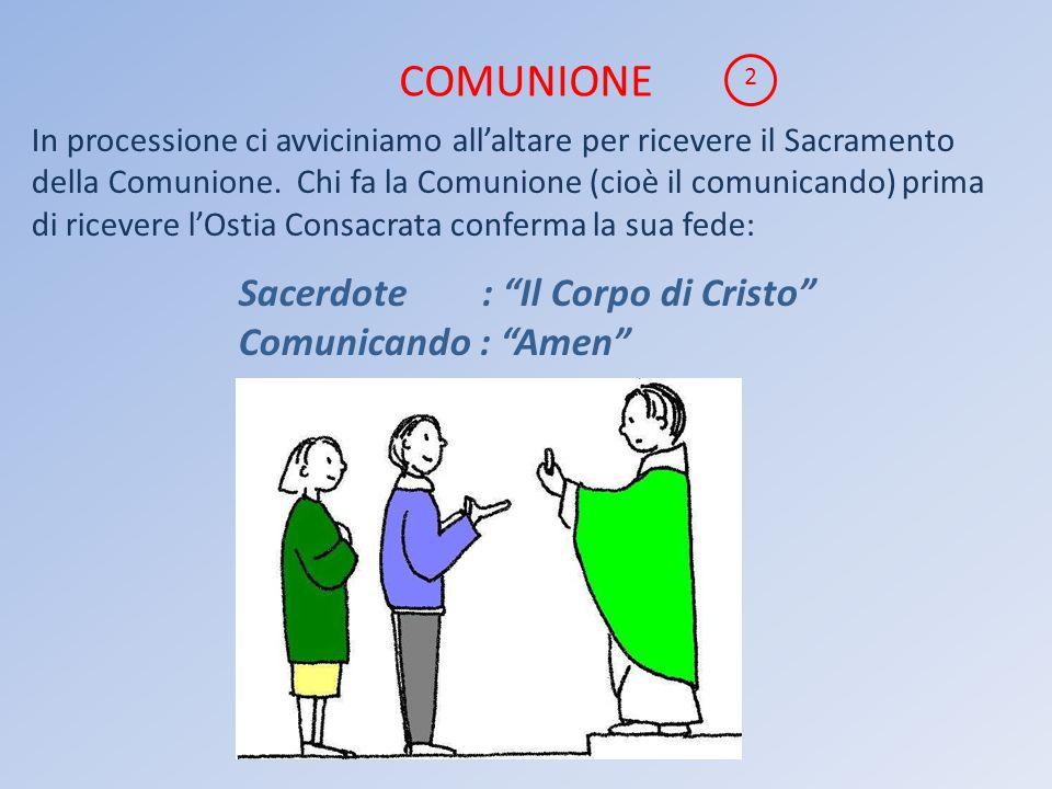 COMUNIONE Sacerdote : Il Corpo di Cristo Comunicando : Amen