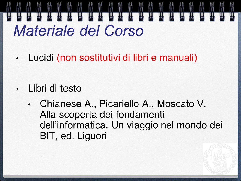 Materiale del Corso Lucidi (non sostitutivi di libri e manuali)