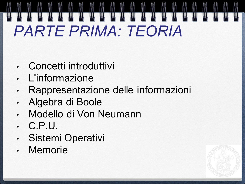 PARTE PRIMA: TEORIA Concetti introduttivi L informazione