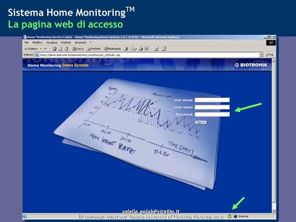 Sistema Home MonitoringTM La pagina web di accesso