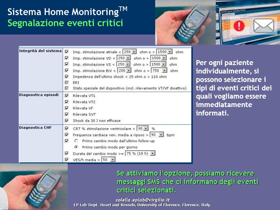 Sistema Home MonitoringTM Segnalazione eventi critici