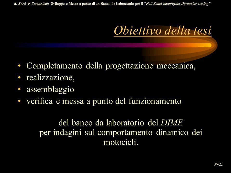 Obiettivo della tesi Completamento della progettazione meccanica,