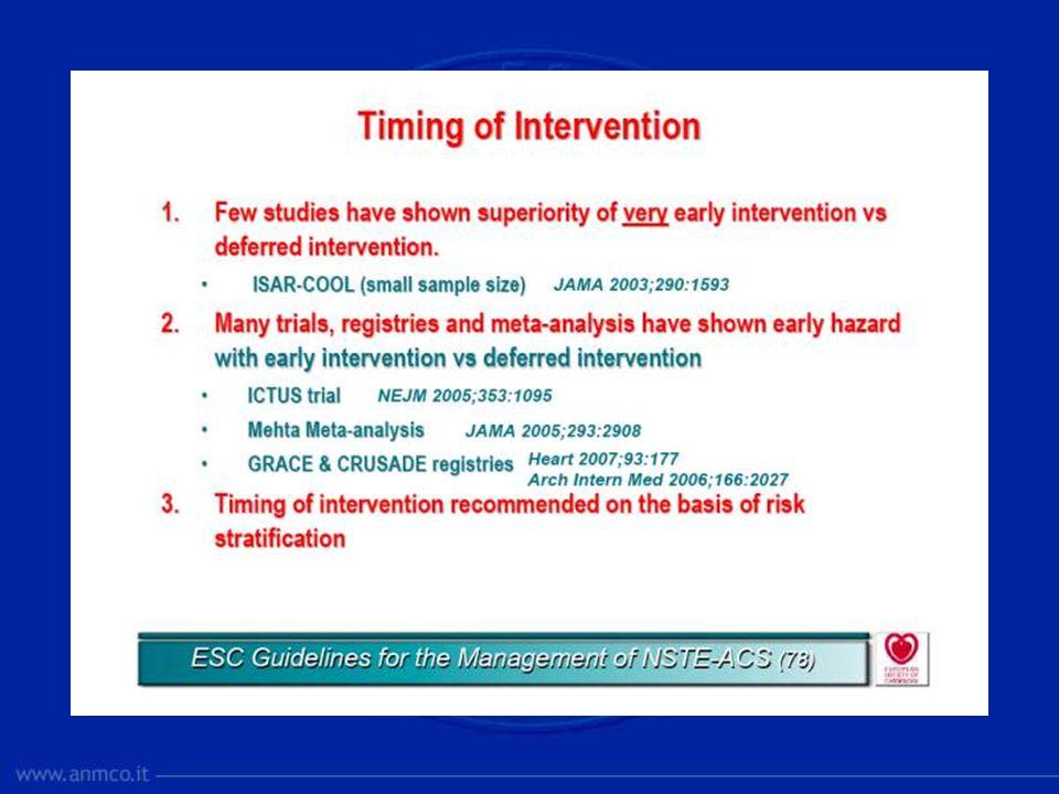Nello studio ISAR-COOL sono stati evidenziati gli effetti benefici derivanti da una precoce rivascolarizzazione, rispetto ad una strategia invasiva differita nel tempo (3 h vs 86 h) con significativa riduzione di morte e IMA a 30 giorni e in assenza di significative differenze per sanguinamenti maggiori.