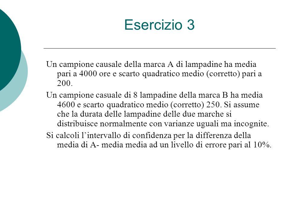 Esercizio 3 Un campione causale della marca A di lampadine ha media pari a 4000 ore e scarto quadratico medio (corretto) pari a 200.
