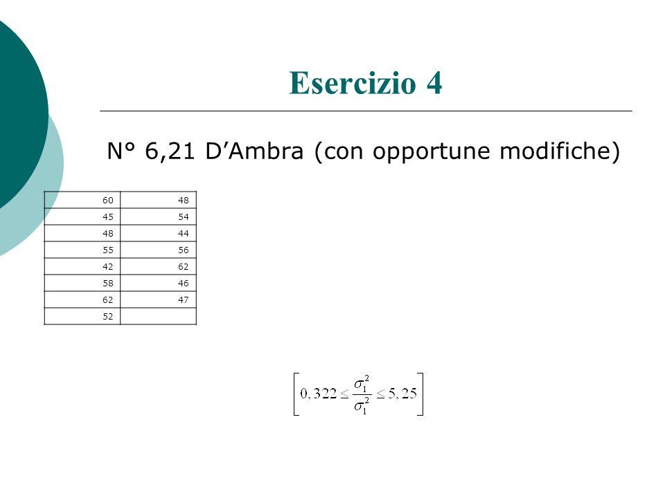Esercizio 4 N° 6,21 D'Ambra (con opportune modifiche) 60 48 45 54 44