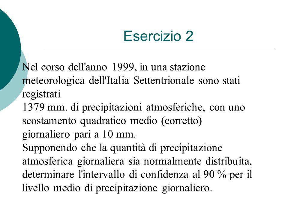 Esercizio 2 Nel corso dell anno 1999, in una stazione meteorologica dell Italia Settentrionale sono stati registrati.
