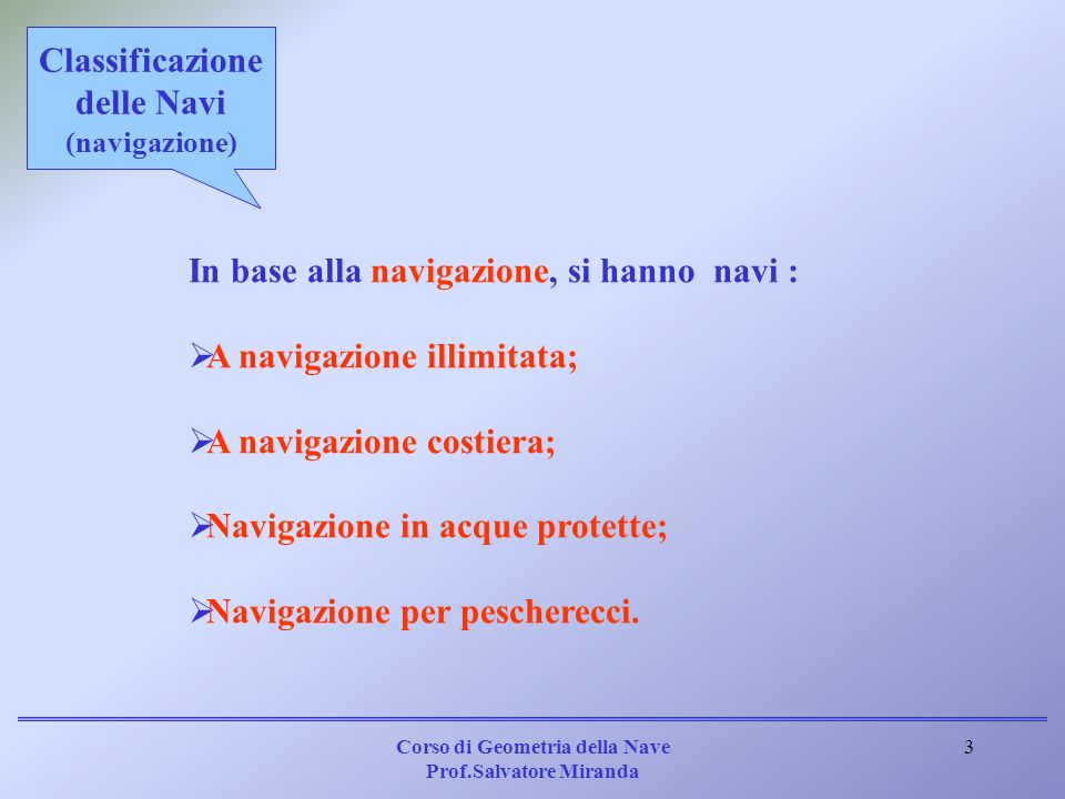 Classificazione delle Navi (navigazione)