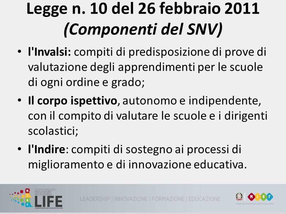 Legge n. 10 del 26 febbraio 2011 (Componenti del SNV)