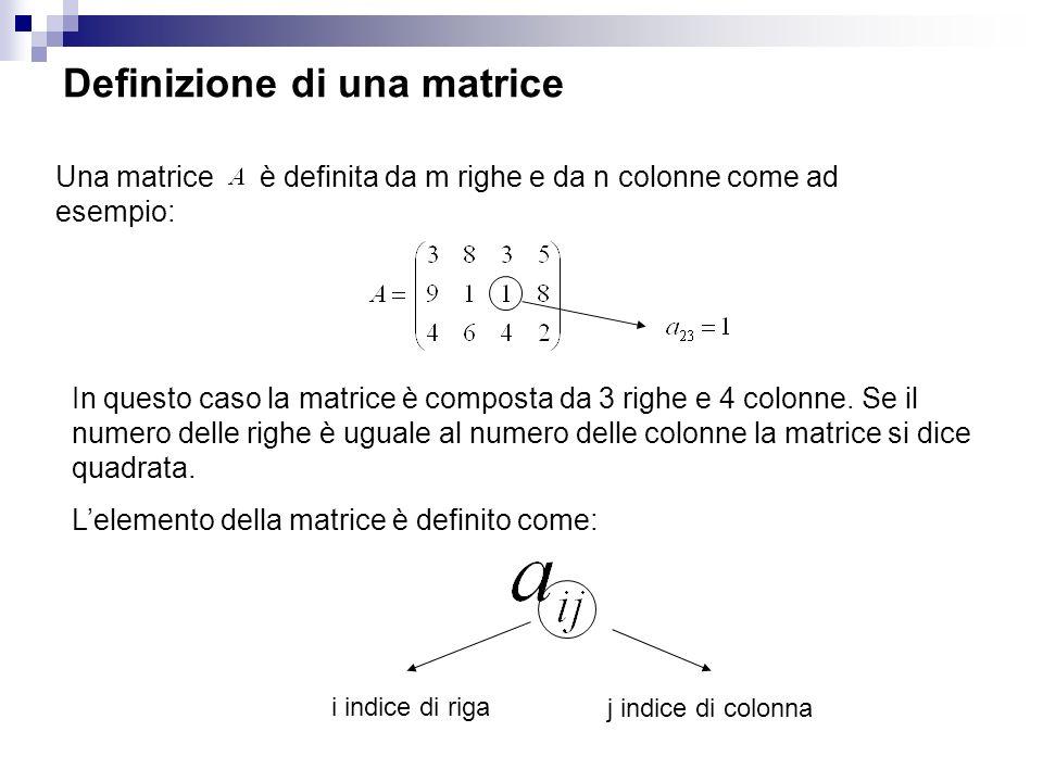 Definizione di una matrice