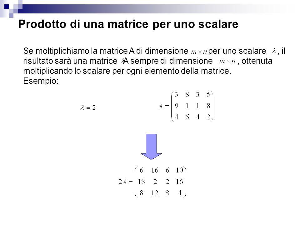 Prodotto di una matrice per uno scalare
