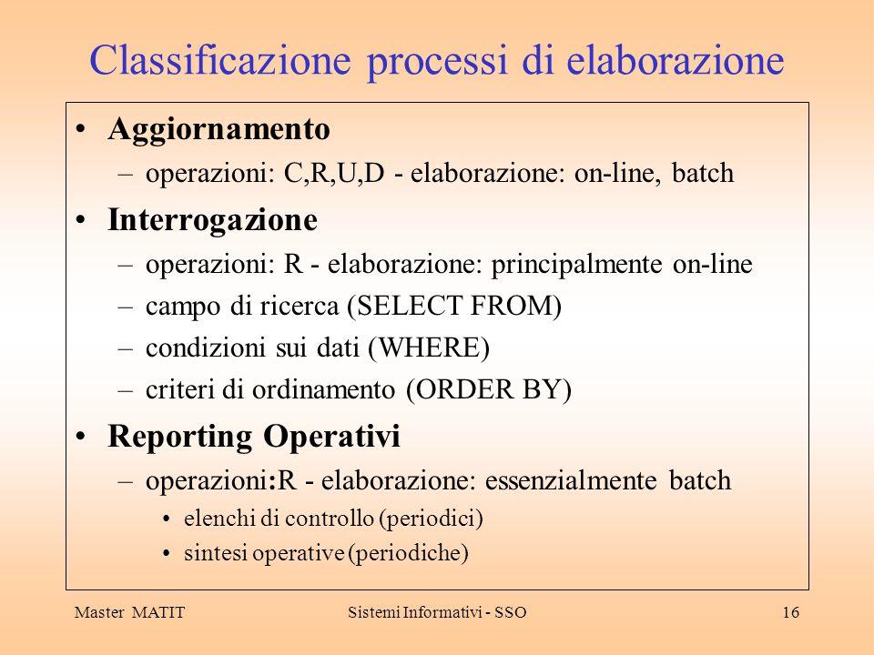 Classificazione processi di elaborazione