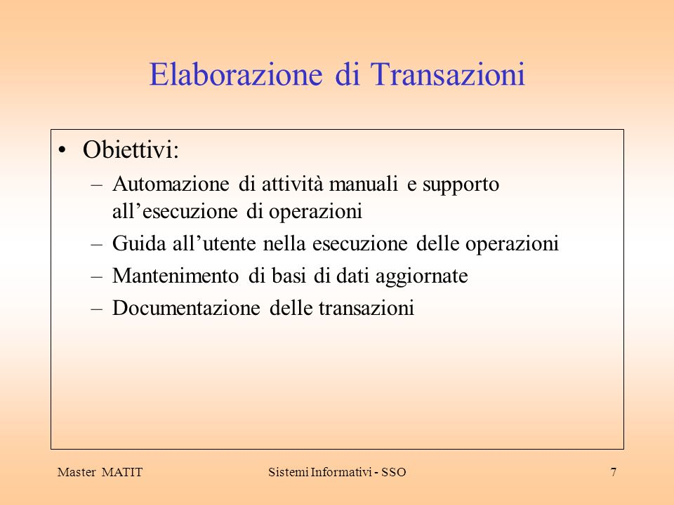 Elaborazione di Transazioni