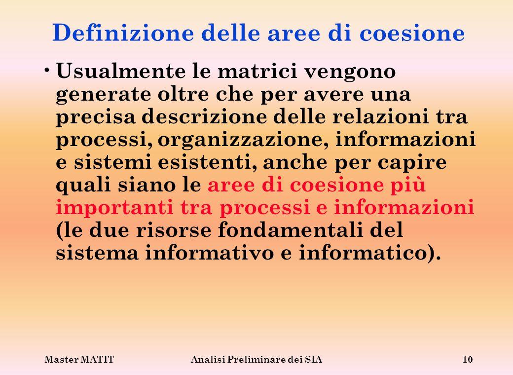 Definizione delle aree di coesione