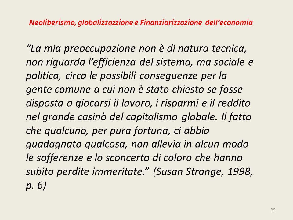 Neoliberismo, globalizzazzione e Finanziarizzazione dell'economia