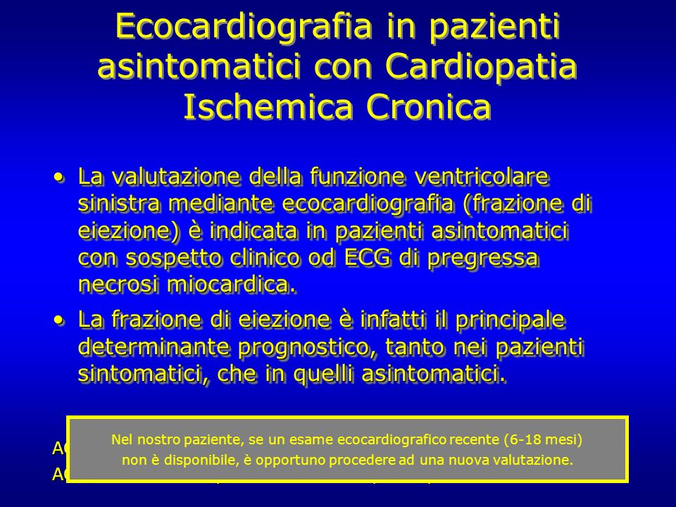 Ecocardiografia in pazienti asintomatici con Cardiopatia Ischemica Cronica