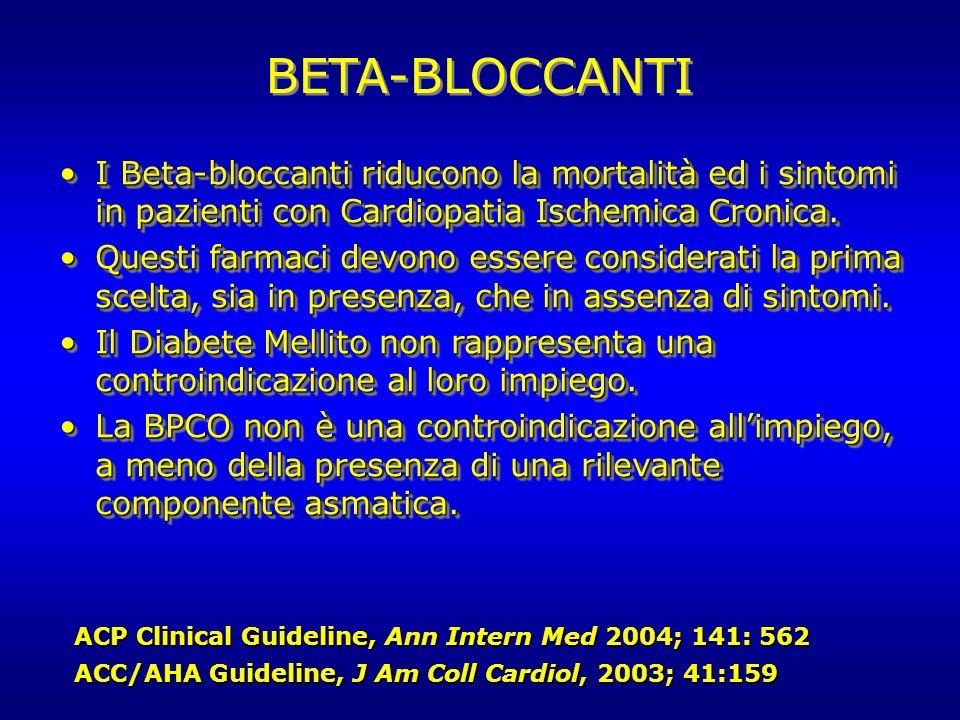 BETA-BLOCCANTI I Beta-bloccanti riducono la mortalità ed i sintomi in pazienti con Cardiopatia Ischemica Cronica.