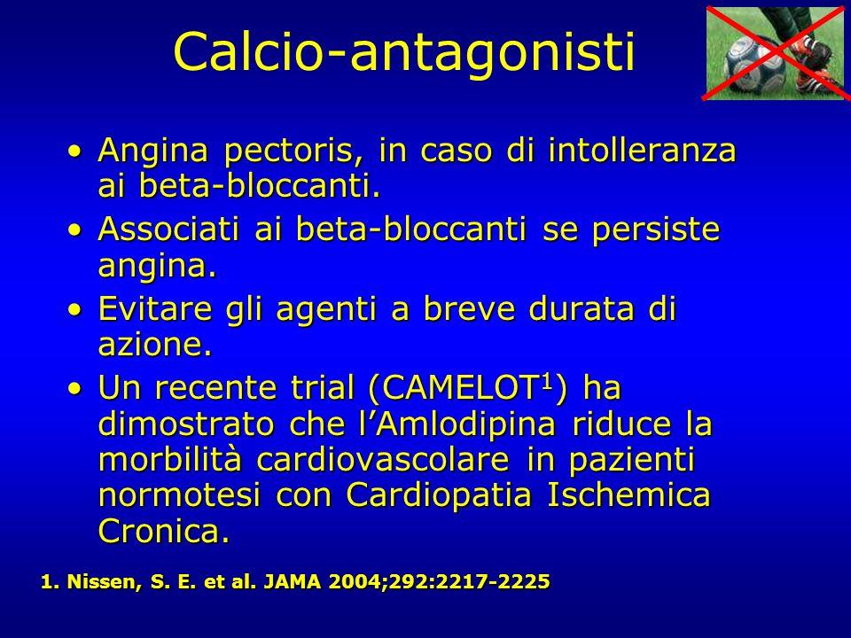 Calcio-antagonisti Angina pectoris, in caso di intolleranza ai beta-bloccanti. Associati ai beta-bloccanti se persiste angina.