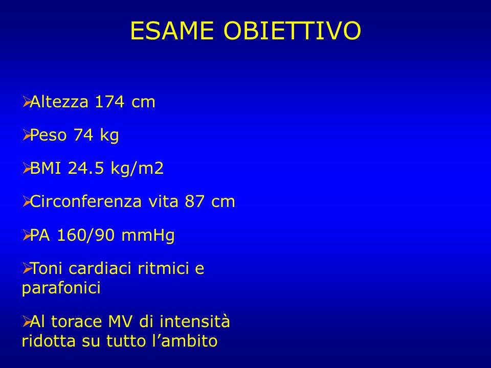 ESAME OBIETTIVO Altezza 174 cm Peso 74 kg BMI 24.5 kg/m2