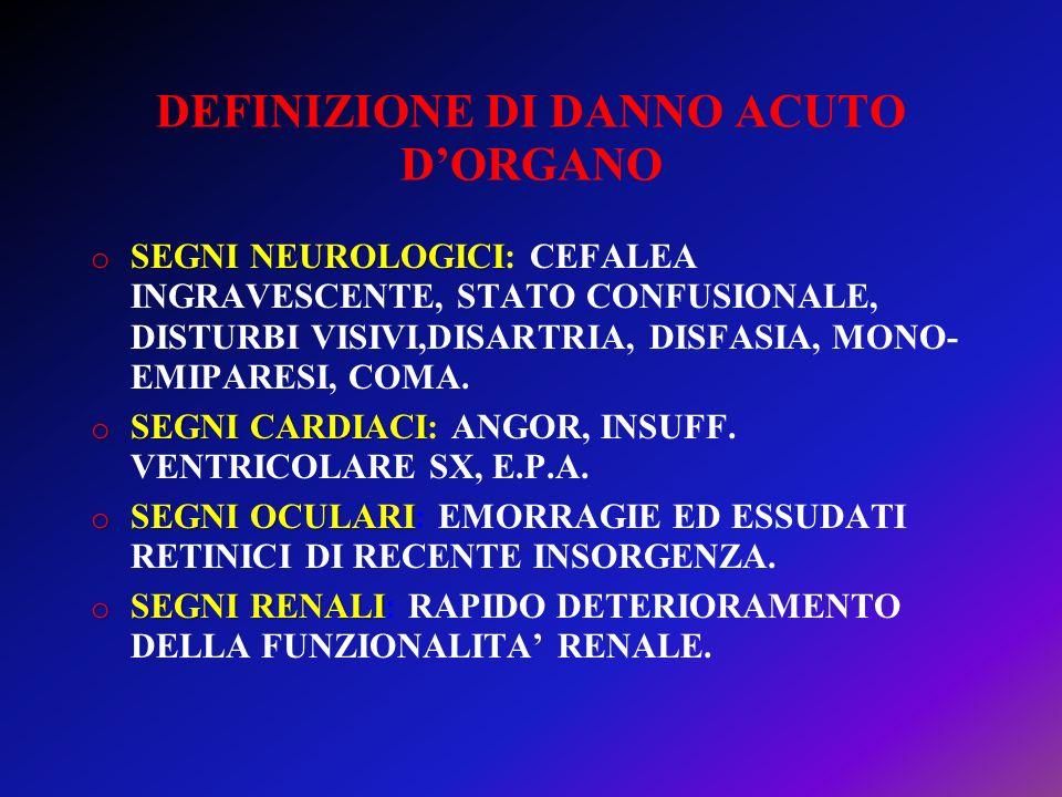 DEFINIZIONE DI DANNO ACUTO D'ORGANO