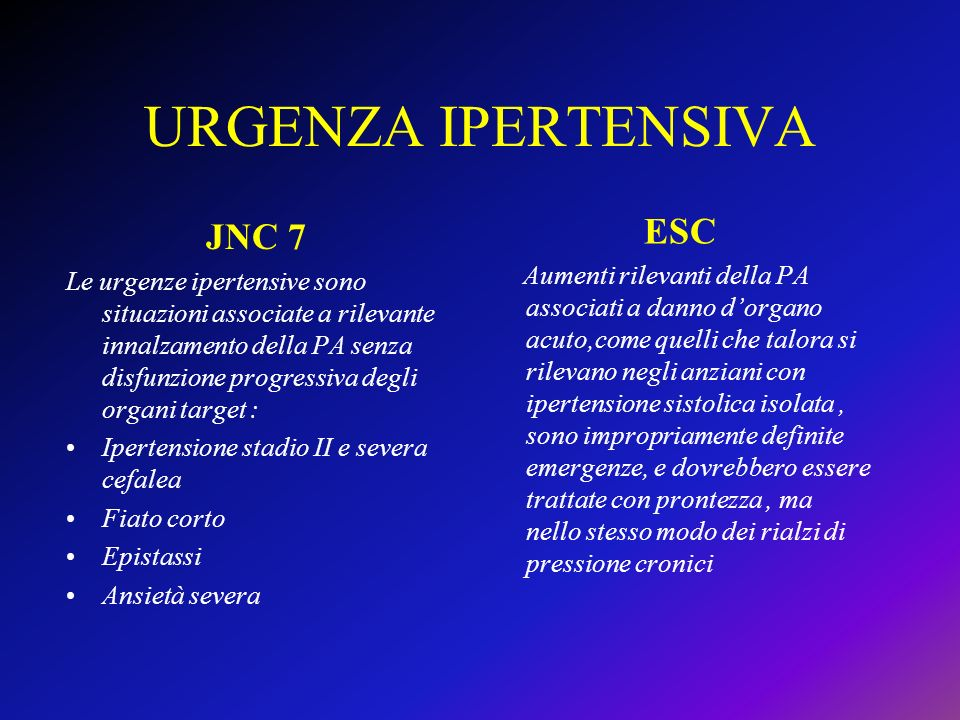 URGENZA IPERTENSIVA ESC JNC 7