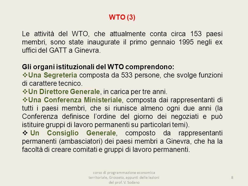 Gli organi istituzionali del WTO comprendono: