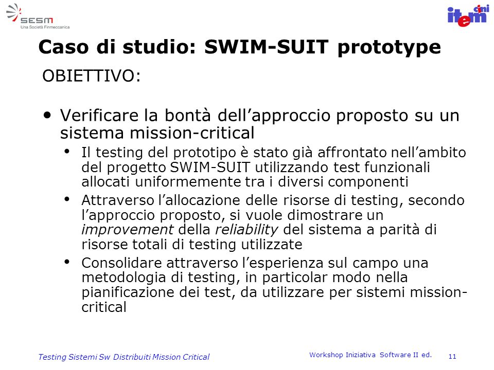 Caso di studio: SWIM-SUIT prototype