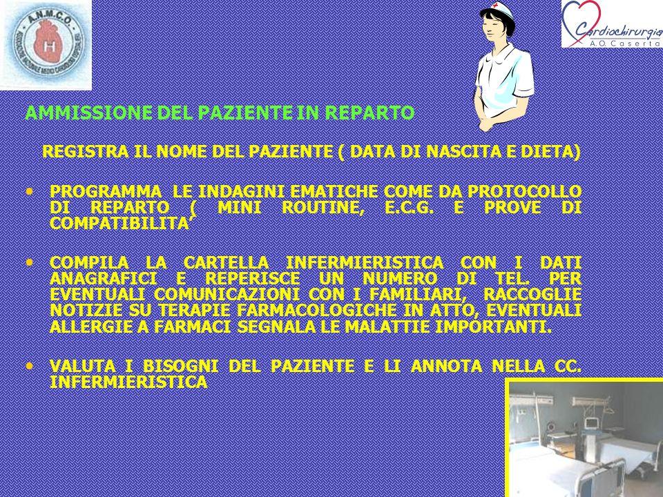 AMMISSIONE DEL PAZIENTE IN REPARTO