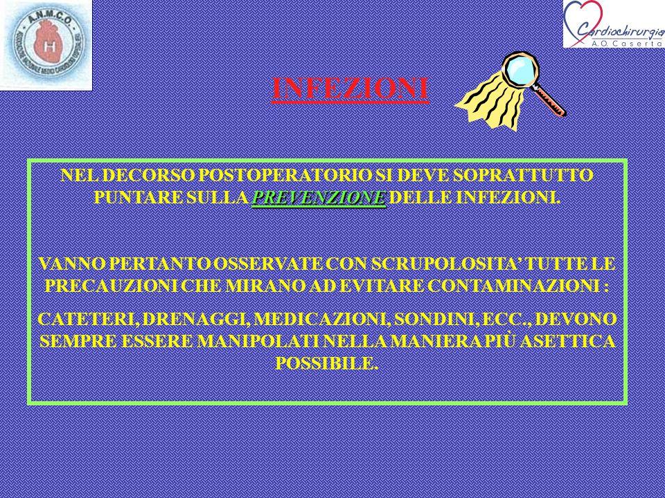 INFEZIONI NEL DECORSO POSTOPERATORIO SI DEVE SOPRATTUTTO PUNTARE SULLA PREVENZIONE DELLE INFEZIONI.
