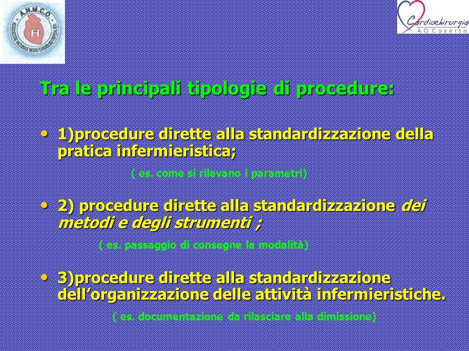 Tra le principali tipologie di procedure: