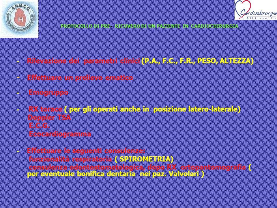 PROTOCOLLO DI PRE- RICOVERO DI UN PAZIENTE IN CARDIOCHIRURGIA