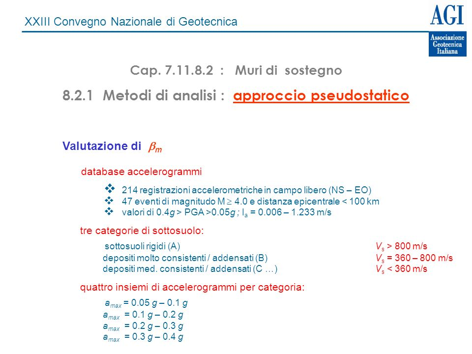8.2.1 Metodi di analisi : approccio pseudostatico