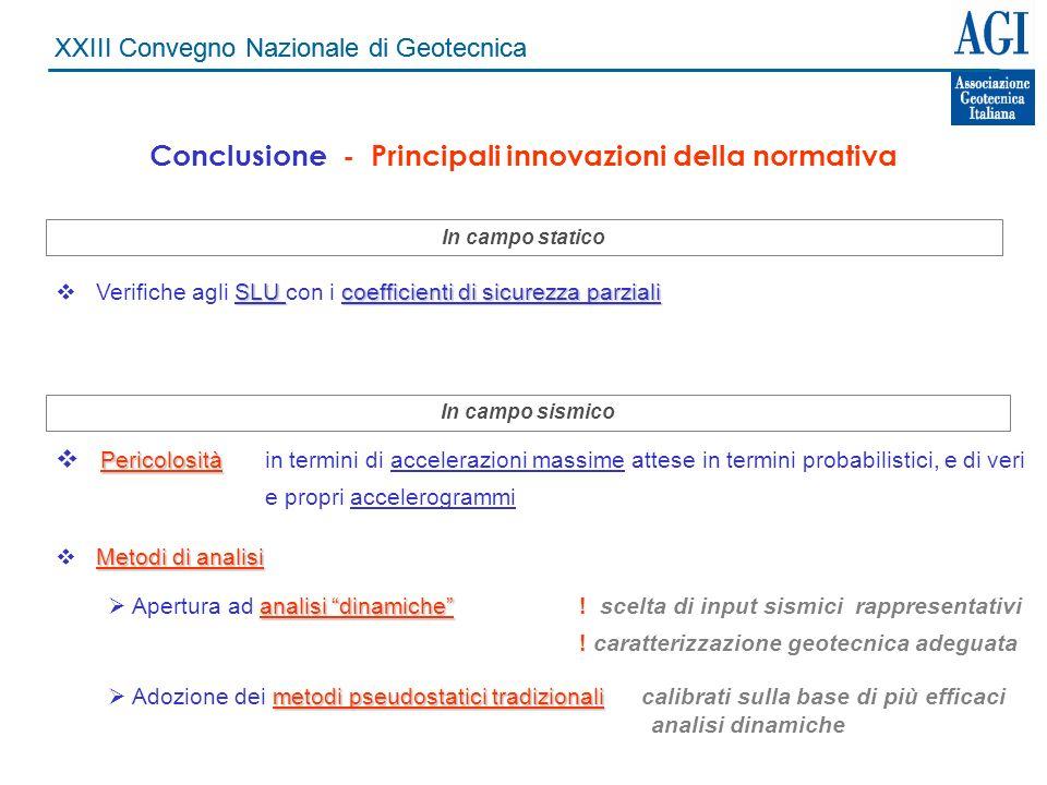 Conclusione - Principali innovazioni della normativa