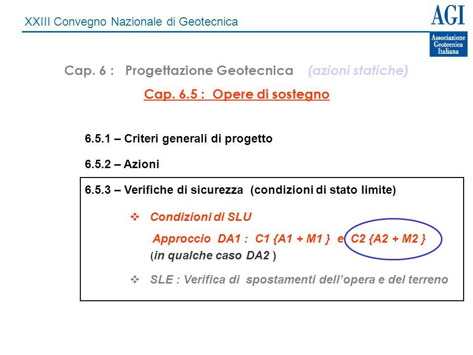Cap. 6 : Progettazione Geotecnica (azioni statiche)