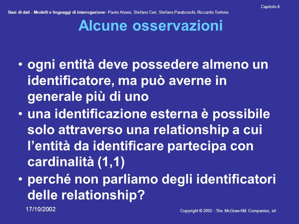 Alcune osservazioni ogni entità deve possedere almeno un identificatore, ma può averne in generale più di uno.