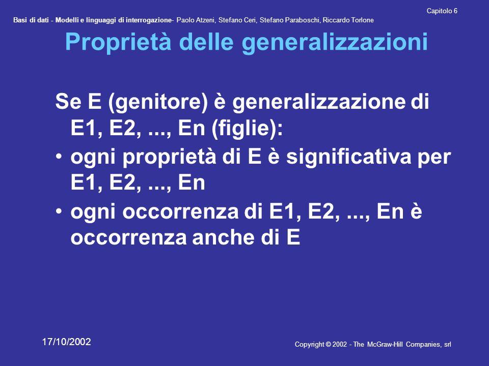 Proprietà delle generalizzazioni