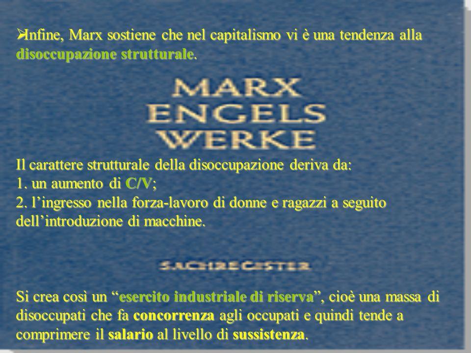 Infine, Marx sostiene che nel capitalismo vi è una tendenza alla disoccupazione strutturale.