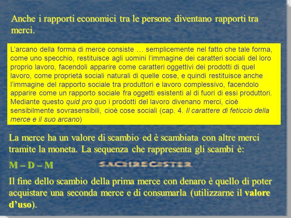 Anche i rapporti economici tra le persone diventano rapporti tra merci.