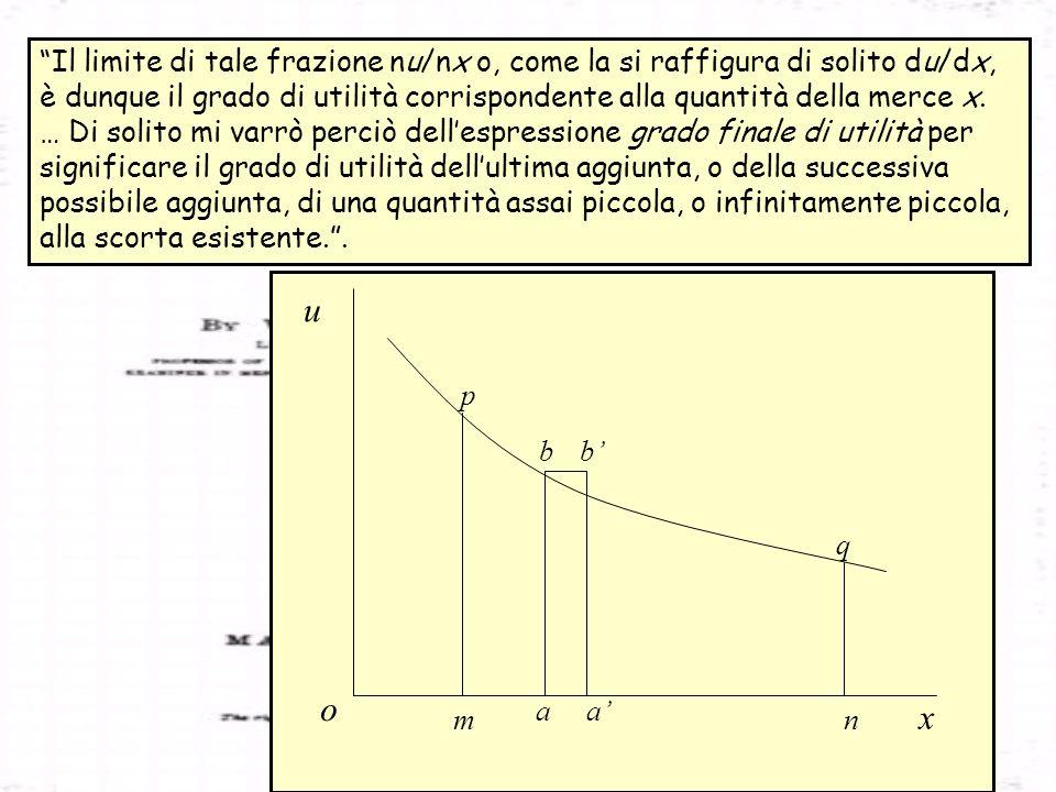 Il limite di tale frazione nu/nx o, come la si raffigura di solito du/dx, è dunque il grado di utilità corrispondente alla quantità della merce x.