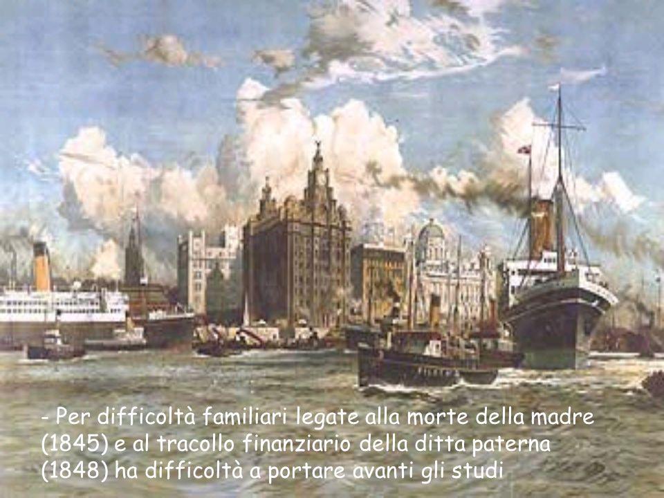 - Per difficoltà familiari legate alla morte della madre (1845) e al tracollo finanziario della ditta paterna (1848) ha difficoltà a portare avanti gli studi